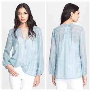 Joie Parmena sheer silk boho blouse in blue, M